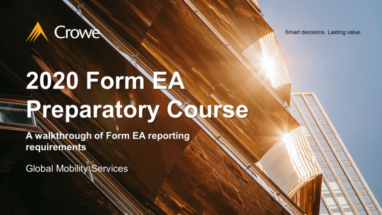 2020 Form EAPreparatory Course: A walkthrough of Form EA reporting requirements (DAY 2)