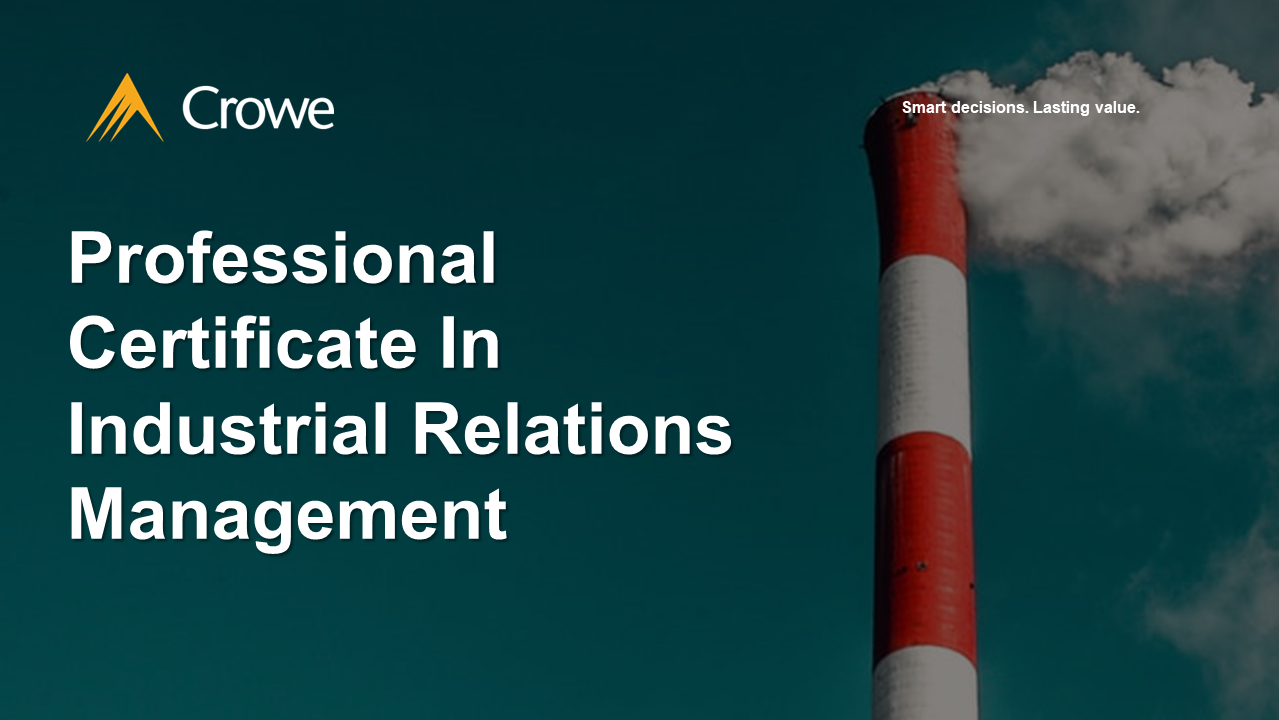 Professional Certificate In Industrial Relations Management