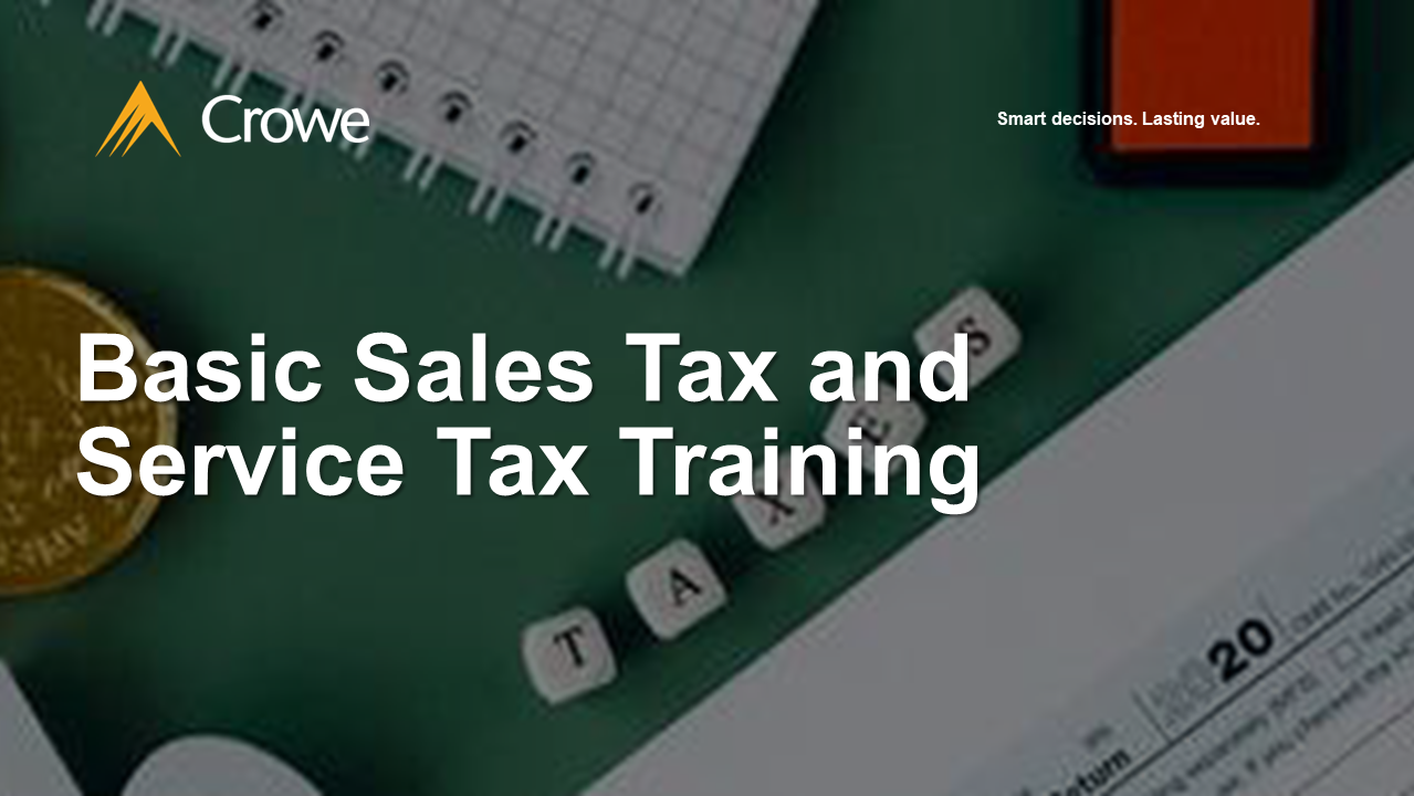 Basic Sales Tax and Service Tax Training Flyer