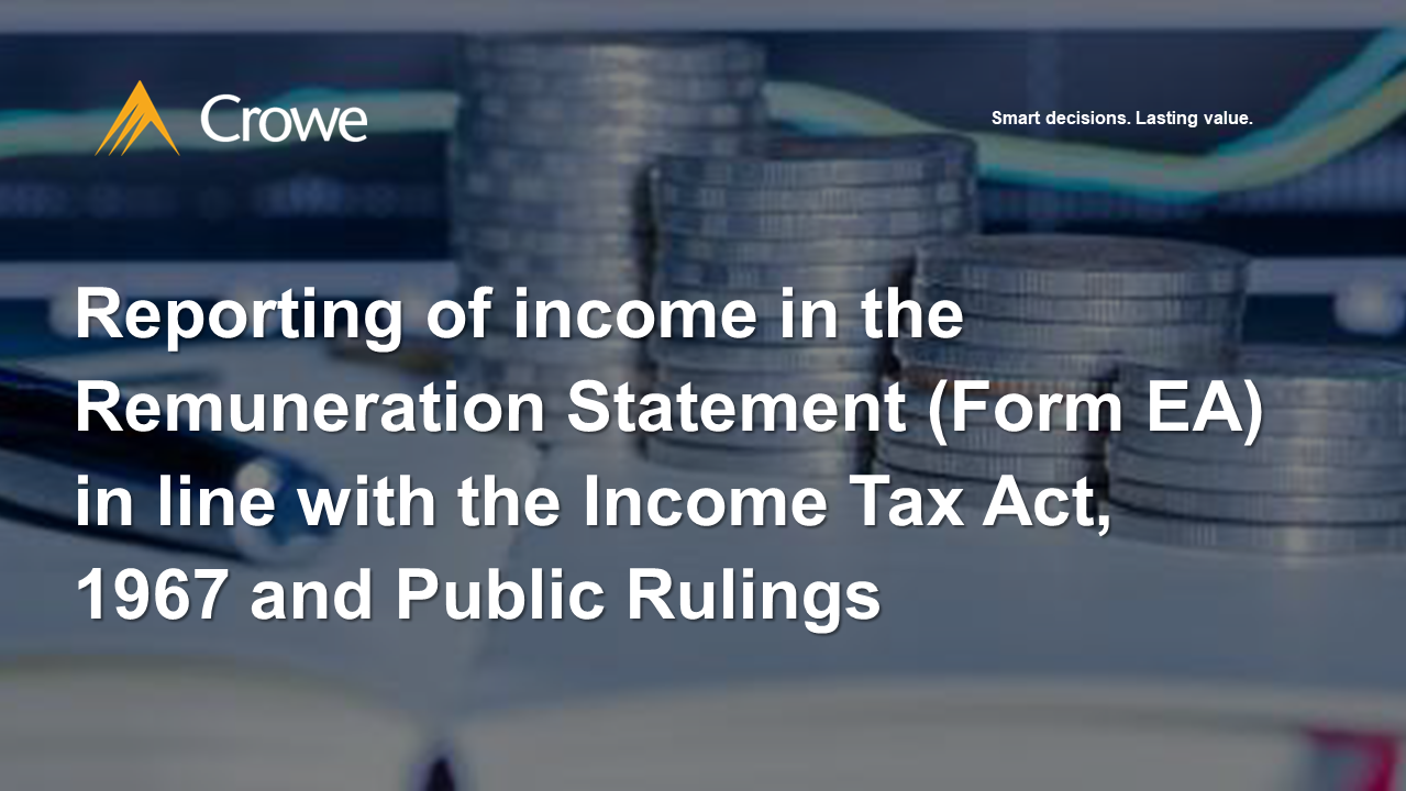 Reporting of income in the Remuneration Statement (Form EA)