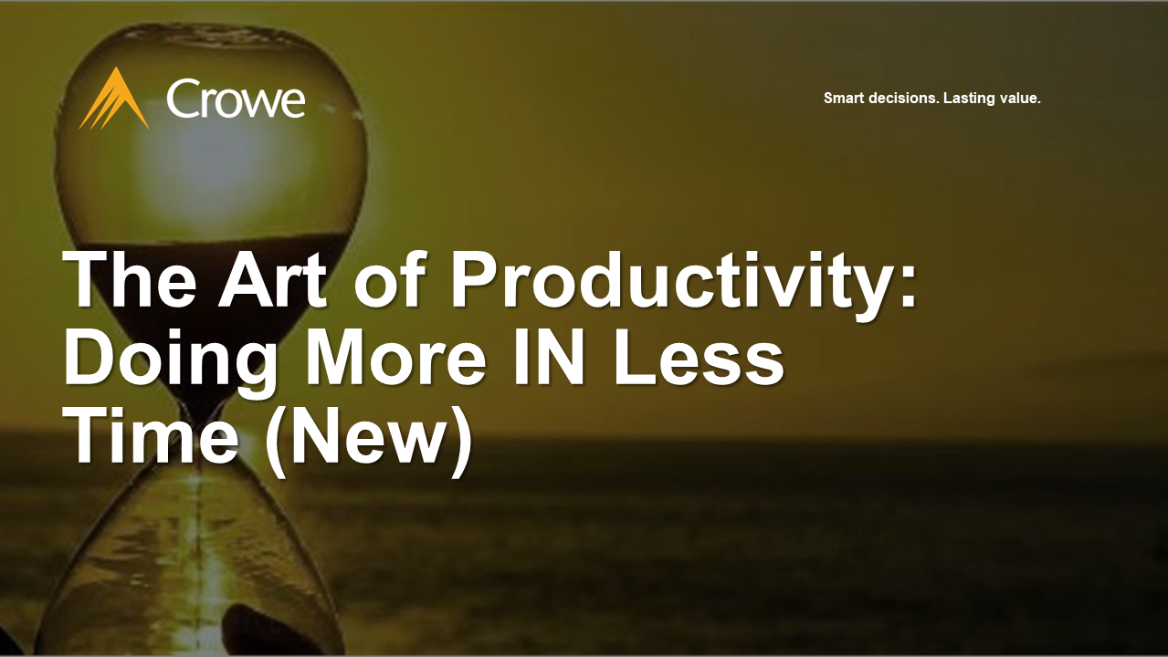 The Art of Productivity - Doing More IN Less Time (New)