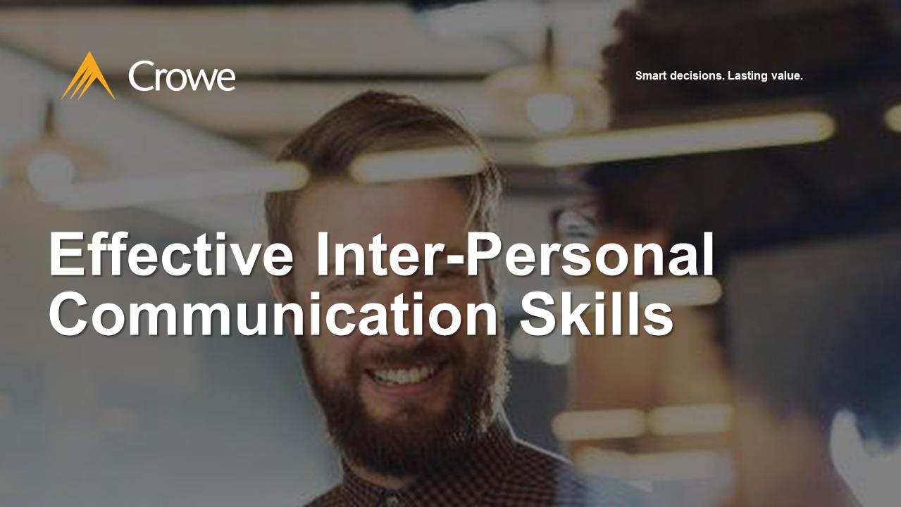 Effective Inter-Personal Communication Skills