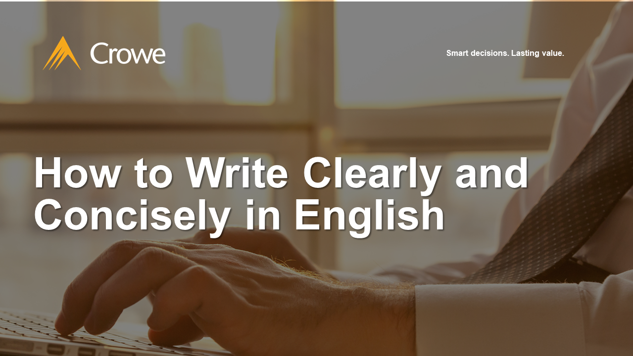 How to Write Clearly and Concisely in English